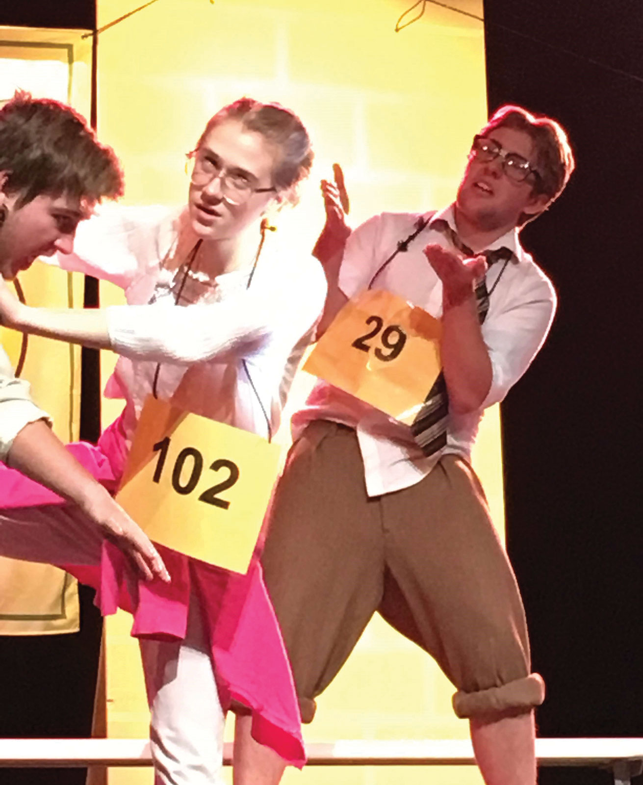 Senior Sebastian Boch as Vice Principal Panch, freshman Maddi Ruttenberg as Olive Ostrovsky, and senior Bowen Gray as William Barfee