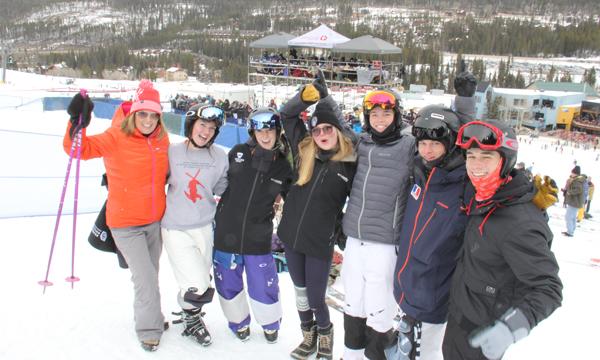 "Past and Present Winter Park Competition Center Ski Team Members. <L-R > Kelly ""Mama"" Mordini, Elissa Cole, Heidi Andringa, Anna Whittier, Nick Mordini,Phillip Baldwin and Evan Lipsky."