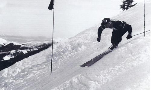 Barney McLean competing in the slalom in the 1940s.