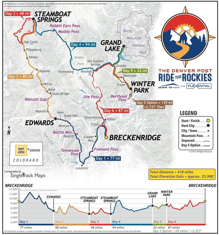 Ride The Rockies 2018 Route
