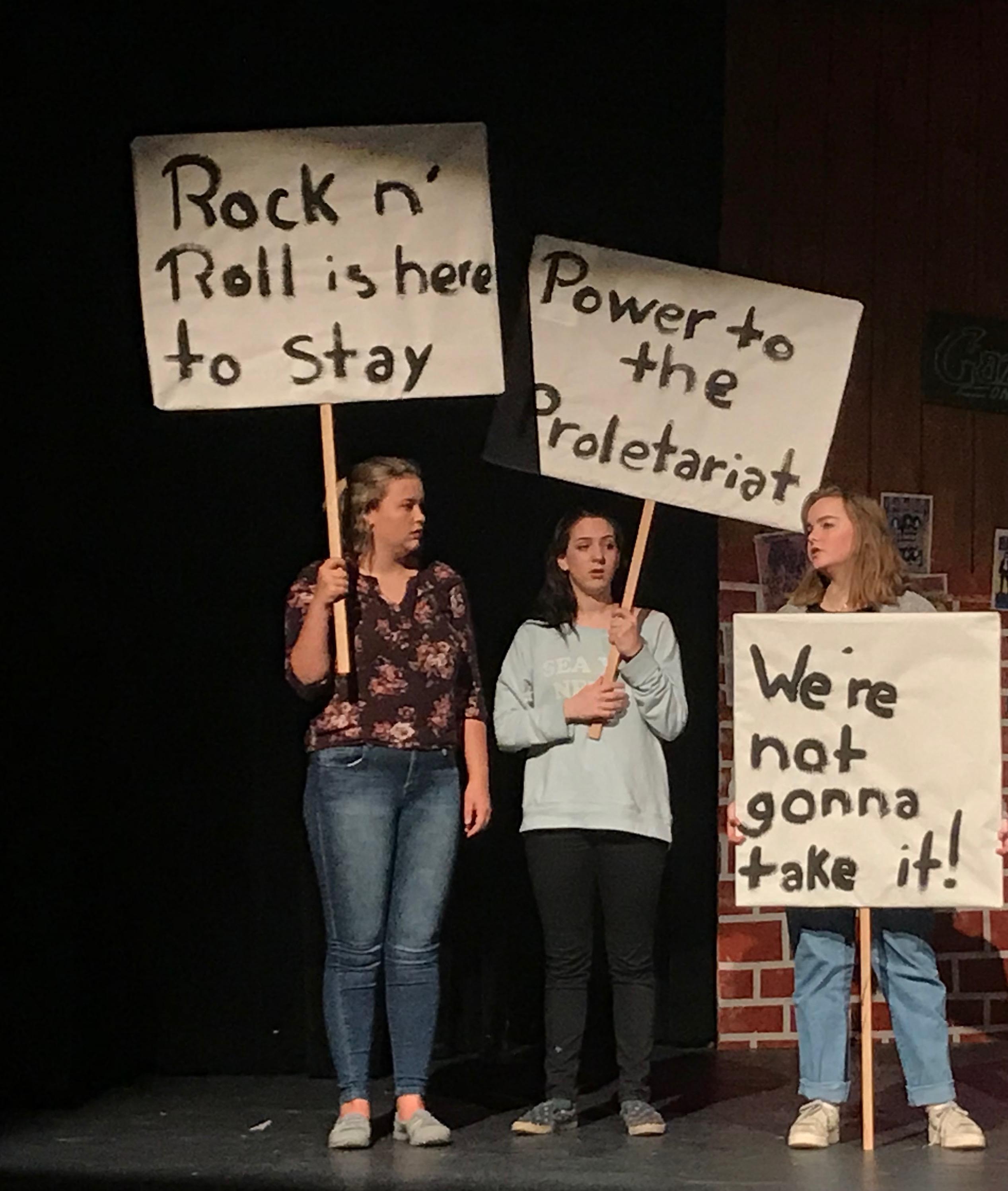 Left to right: Amanda Freeman - freshman; Lily Munoz - freshman; Emma Belew-LaDue - sophomore