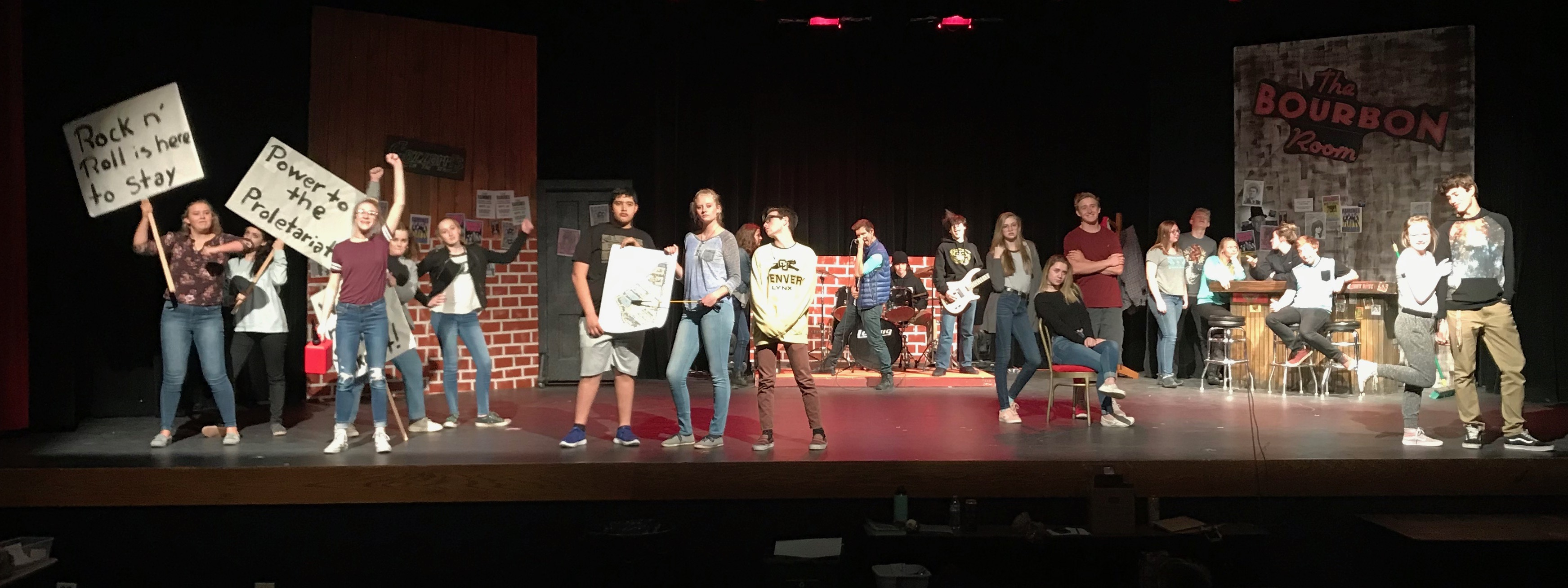 """Middle Park High School Drama Club in a cast photo for the 2018 Spring Play, """"Rock of Ages"""""""