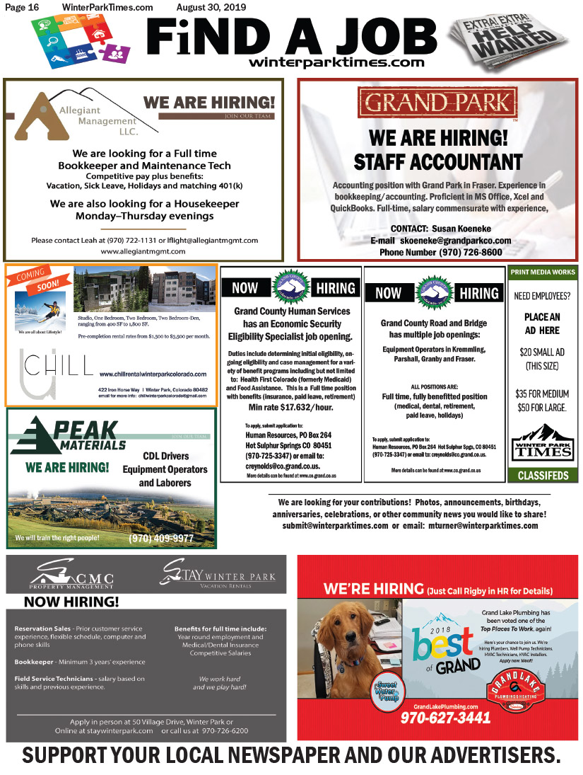 Classifieds | Winter Park Times
