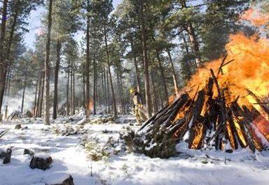 Slash Pile burning continues in Sulphur Ranger District
